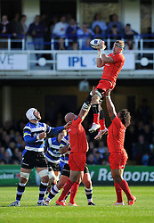 Imanol Harinordoquy of Toulouse wins lineout ball - Photo mandatory by-line: Patrick Khachfe/JMP - Mobile: 07966 386802 25/10/2014 - SPORT - RUGBY UNION - Bath - The Recreation Ground - Bath Rugby v Toulouse - European Rugby Champions Cup