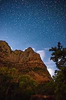 Starry night sky,Zion National Park, located in the Southwestern United States, near Springdale, Utah.