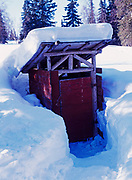 Outhouse with inscriptions on door dating from the 1930s, Winterlake Lodge, Finger Lake, Iditarod Trail, Alaska