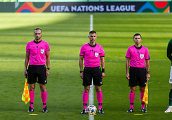 DUBLIN, REPUBLIC OF IRELAND - Sunday, October 11, 2020: Referee Tasos Sidiropoulos (C) and his assistants Polychronis Kostaras and Lazaros Dimitriadis line-up before the UEFA Nations League Group Stage League B Group 4 match between Republic of Ireland and Wales at the Aviva Stadium. The game ended in a 0-0 draw. (Pic by David Rawcliffe/Propaganda)