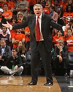 Jan. 27, 2011; Charlottesville, VA, USA; Maryland Terrapins head coach Gary Williams reacts to a call during the game against the Virginia Cavaliers at the John Paul Jones Arena. Maryland won 66-42. Mandatory Credit: Andrew Shurtleff
