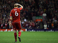 Photo: Paul Thomas.<br /> Liverpool v Barcelona. UEFA Champions League. Last 16, 2nd Leg. 06/03/2007.<br /> <br /> John Arne Riise of Liverpool shows his frustration after coming close to scoring.