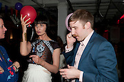 ERIN O'CONNOR; CHRIS LEVIN, Tunnel of Love. Funfair party The Mending Broken Hearts appeal In aid of the British Heart Foundation. Victoria House, Bloomsbury. London. 17 May 2011. <br /> <br />  , -DO NOT ARCHIVE-© Copyright Photograph by Dafydd Jones. 248 Clapham Rd. London SW9 0PZ. Tel 0207 820 0771. www.dafjones.com.