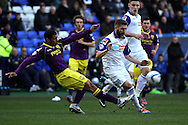 Notts County's Hayden Mullins tackles Tranmere Rovers' Ryan Lowe (r). Skybet football league one match, Tranmere Rovers v Notts county at Prenton Park in Birkenhead, England on Saturday 15th March 2014.<br /> pic by Chris Stading, Andrew Orchard sports photography.