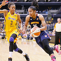 03 August 2014: Connecticut Sun forward Alyssa Thomas (25) drives past Los Angeles Sparks forward/center Candace Parker (3) during the Los Angeles Sparks 70-69 victory over the Connecticut Sun, at the Staples Center, Los Angeles, California, USA.