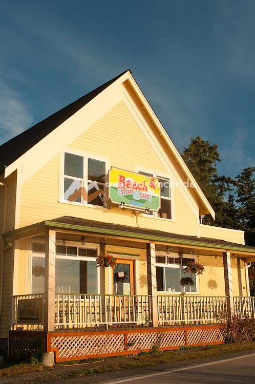 Beach Store Cafe at sunrise  on Lummi Island, San Juan Islands, Washington.