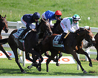 Horse Racing - Epsom Festival - Derby Day - Epsom Downs  The Cazoo Derby<br /> <br /> Winner, Adam Kirby on Adayar (red cap) hugs the rail at Tottenham Corner<br /> <br /> Credit : COLORSPORT/ANDREW COWIE