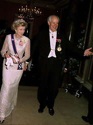 HRH PRINCESS ALEXANDRA and SIR PHILIP DOWSON President of the Royal Academy, at a dinner in London on 22nd May 1997.LYP 36
