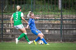 Amy Muir of Hibernian and Tjasa Nemec of ZNK Pomurje during football match between ZNK Pomurje and FC Hibernian in 3nd Round of UWCL qualifying 2019/20, on Avgust 13, 2019 in Sportni Park Beltinci, Beltinci, Slovenia. Photo by Blaž Weindorfer / Sportida