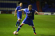 Josh Law of Oldham Athletic during the EFL Cup match between Oldham Athletic and Wigan Athletic at Boundary Park, Oldham, England on 9 August 2016. Photo by Simon Brady.