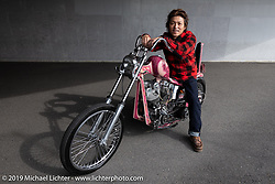 Ken Kentaro in his Hot Chop Speed Shop with his  1981 Harley-Davidson 86ci Shovelhead chopper. Kyoto, Japan. Friday, December 7, 2018. Photography ©2018 Michael Lichter.