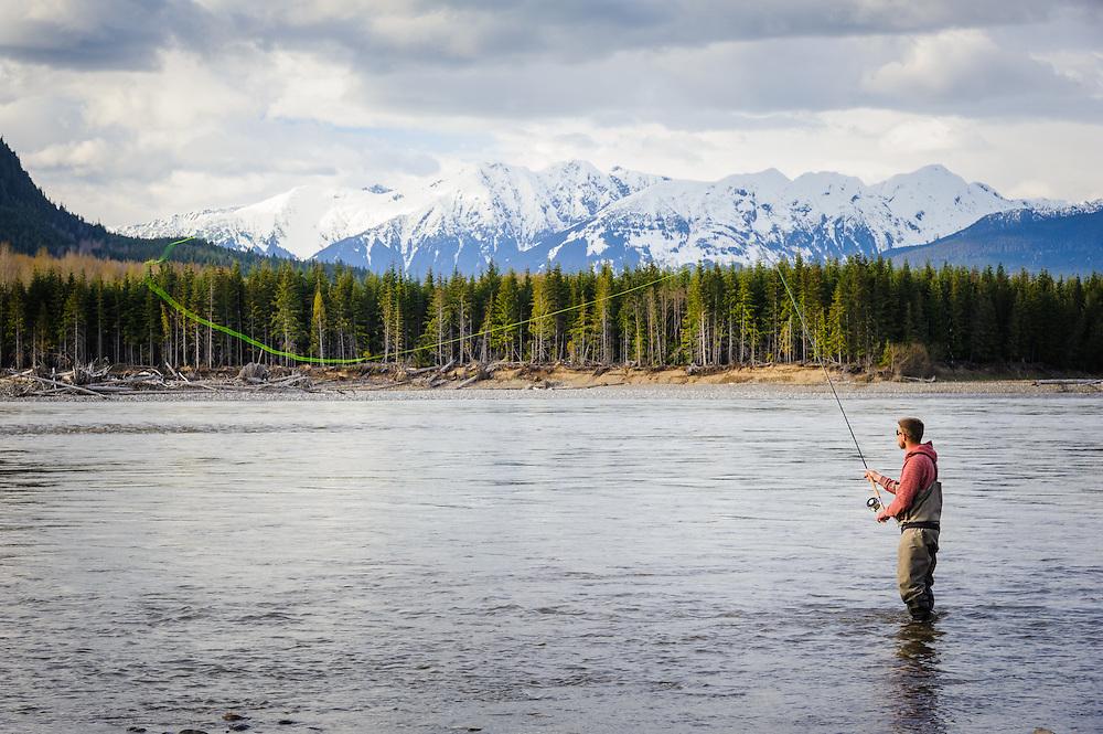 Skeena River spring fishing. Terrace, BC