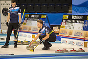 """Glasgow. SCOTLAND. Standing, Scotland's,  Hammy McMILLAN and on the """"Stone"""" Ross PATERSON, during their  """"Round Robin"""" Game. Le Gruyère European Curling Championships. 2016 Venue, Braehead  Scotland<br /> Tuesday  22/11/2016<br /> <br /> [Mandatory Credit; Peter Spurrier/Intersport-images]"""