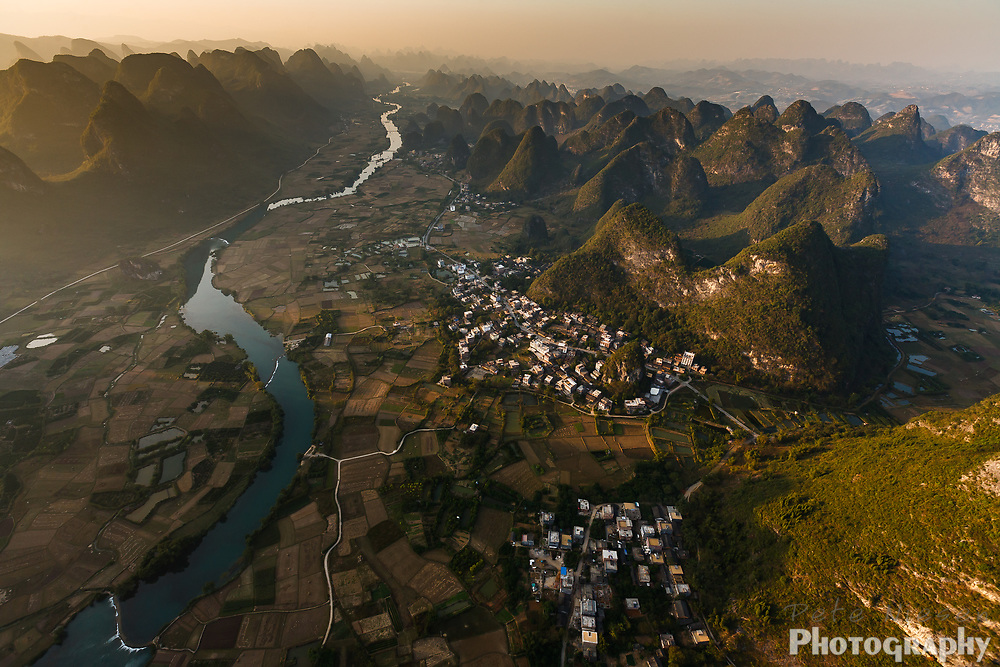 Aerial view of Li River as it winds through karst peaks in southern China