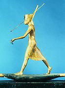 Tutankhamun (Tutenkamen) d.c.1340 BC 18th dynasty Egyptian Pharaoh. Guardian figure on his golden sarcophagus Photograph.