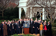 U.S President Bill Clinton listens to his chief of staff John Podesta surrounded by Democratic leaders outside the White House following his impeachment December 19, 1998 in Washington, DC.  The US House of Representatives impeached Clinton on charges of perjury and obstruction of justice. Clinton rejected calls for his resignation and vowed to continue in office.