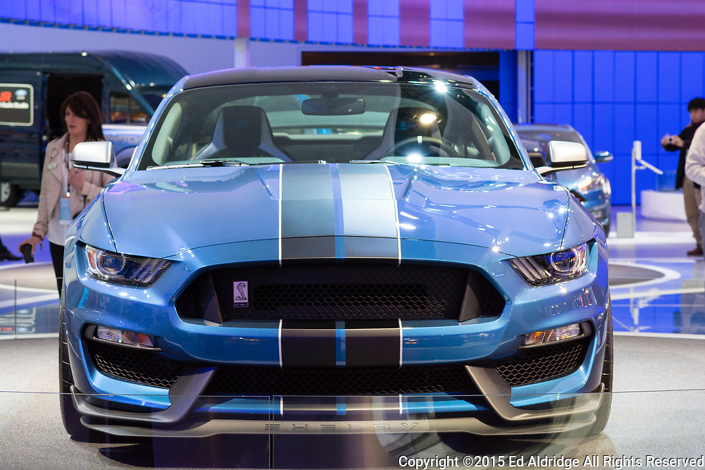 DETROIT, MI, USA - JANUARY 13, 2015: Ford Shelby GT 350 R on display during the 2015 Detroit International Auto Show at the COBO Center in downtown Detroit.