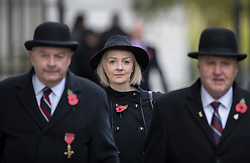 © Licensed to London News Pictures. 12/11/2017. London, UK. Chief Secretary to the Treasury Liz Truss walks through Downing Street to attend the Remembrance Sunday Ceremony at the Cenotaph in Whitehall. Photo credit: Peter Macdiarmid/LNP