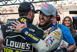 October 7, 2018 - Dover, DE, U.S. - DOVER, DE - OCTOBER 07: Chase Elliott gets congratulated by teammate Jimmie Johnson after winning the Gander Outdoors 400 on October 07, 2018, at Dover International Speedway in Dover, DE. (Photo by David Hahn/Icon Sportswire) (Credit Image: © David Hahn/Icon SMI via ZUMA Press)