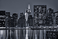 Chrysler Building & United Nations Headquarters on East River (monochrome)