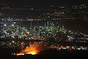 on June 12th 2014, Israeli firefighters fought a fire that broke out near the Haifa Oil Refinery in the Haifa Bay, Israel