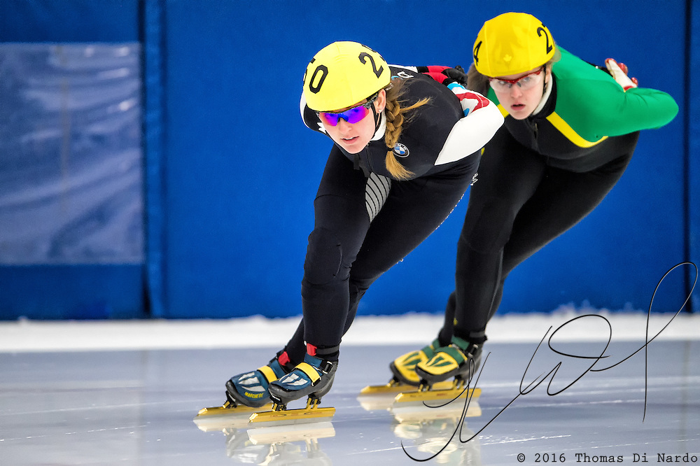 March 18, 2016 - Verona, WI - Lauren Ziegelmayer, skater number 250 competes in US Speedskating Short Track Age Group Nationals and AmCup Final held at the Verona Ice Arena.
