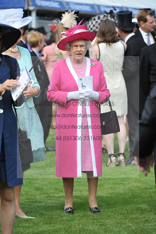 HM THE QUEEN at the Investec Derby at Epsom Racecourse, Epsom Downs, Surrey on 4th June 2011.