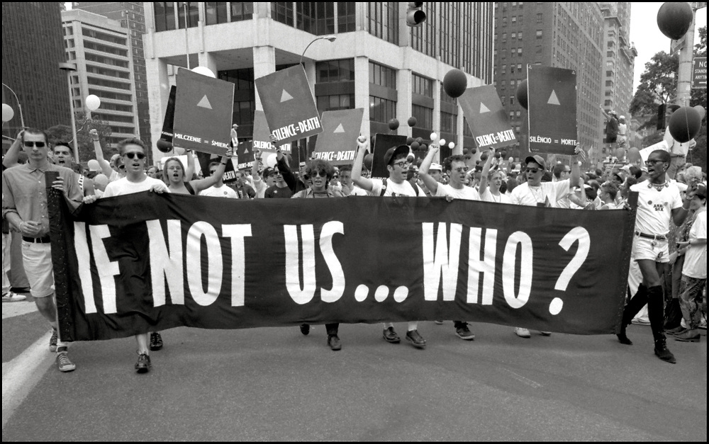 ACT UP marches in the Gay Pride Parade in New York City in June, 1989.