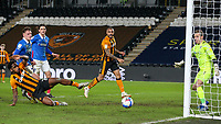 Hull City's Mallik Wilks and Josh Magennis can't connect with a cross<br /> <br /> Photographer Alex Dodd/CameraSport<br /> <br /> The EFL Sky Bet League One - Hull City v Portsmouth - Friday 18th December 2020 - KCOM Stadium - Kingston upon Hull<br /> <br /> World Copyright © 2020 CameraSport. All rights reserved. 43 Linden Ave. Countesthorpe. Leicester. England. LE8 5PG - Tel: +44 (0) 116 277 4147 - admin@camerasport.com - www.camerasport.com