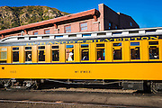 Passenger car on the Durango & Silverton Narrow Gauge Railroad, Durango, Colorado USA