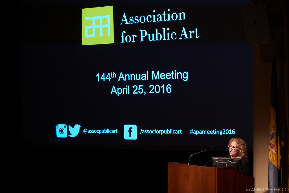 aPA Executive Director, Penny Balkin Bach<br /> The aPA's 144th annual meeting with guest speaker Marc Pally.<br /> Marc Pally is an artist, advocate, and public art curator. Pally consults with the private and public sectors on the planning and implementation of public art projects – from complex and large-scale multi-phased mixed-use projects to the placement of singular art works. He is the founding Artistic Director of Glow, a dusk-to-dawn arts festival held on the beach of Santa Monica. Pally provided artistic direction for CURRENT: LA Water, a public art biennial supported in part by the Bloomberg Public Art Challenge, produced by the City of Los Angeles and schedule for July 2016. He served as the co-curator and facilitator for the award-winning public art program at the David L. Lawrence Convention Center in Pittsburgh, PA. His passion and commitment is to engage the vision of artists in the public sphere by helping create environments in which the unexpected and often the enigmatic reside as key elements in our common spaces.<br /> April 25, 2016