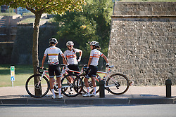 Colnago Team regroup at the finish of the 2020 Clasica Feminas De Navarra, a 122.9 km road race starting and finishing in Pamplona, Spain on July 24, 2020. Photo by Sean Robinson/velofocus.com