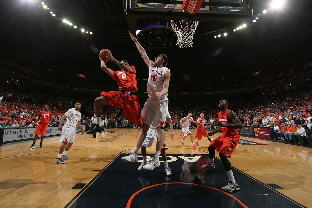 during an NCAA basketball game Saturday March 1, 2014 in Charlottesville, VA.
