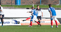 Cowdenbeath's Greg Stewart (hidden behind Cowdenbeath's 7 Marc McKenzie) scoring their goal.<br /> Cowdenbeath 1 v 0 Falkirk, 14/9/2013.<br /> ©Michael Schofield.