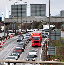 © Licensed to London News Pictures. 28/03/2016<br /> Traffic on the M25 Anti-clock wise towards Dartford crossing.<br /> Queen Elizabeth II Bridge at Dartford River Crossing in Kent is closed because of high winds from storm Kent.<br /> Winds up to 80 mph have battered the UK over night.<br /> <br />  (Byline:Grant Falvey/LNP)