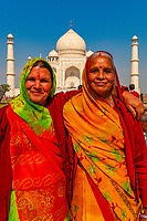 Women in saris at the Taj Mahal, Agra, Uttar Pradesh, India