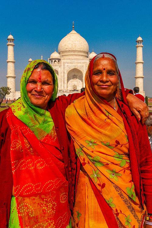 Women in saris at the Taj Mahal, Agra, Uttar Pradesh, India