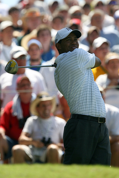 09 August 2007: Tiger Woods tees off on the 5th hole during the first round of the 89th PGA Championship at Southern Hills Country Club in Tulsa, OK.