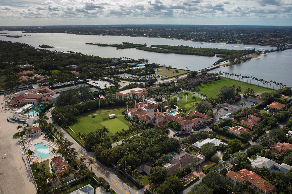 Aerial view of Mar-a-lago, The Palm Beach residence of President Donald Trump.