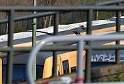 Nederland, Nijmegen, 14-4-2019In een treinstel die op het rangeerterrein van het station van Nijmegen staat is vanochtend een explosie geweest. Het dak van de trein is op die plek door de luchtfruk bol gaan staan.Foto: Flip Franssen