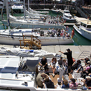 Moored yachts in Viaduct Basin. Auckland, New Zealand, .Located in the heart of Auckland City, Viaduct Basin and Harbour is a first class residential, commercial and entertainment precinct..The marina caters to commercial vessels, pleasure craft and super yachts with 150 marina berths ranging in size up to 60 metres..Viaduct Basin hosts many fabulous events including the past America's Cup defences, Louis Vuitton Regattas, the Volvo Round the World Race stopover, Auckland International Boatshow and New Zealand Fashion Week..Visitors can explore New Zealand's rich maritime history at Voyager Maritime Museum, cruise the harbour on a charter yacht, view the yachts berthed in the harbour and enjoy the world class hospitality at the many bars and restaurants that line the waters edge..New Zealand's largest marine service precinct, Westhaven, lies a short walk to the west.. Auckland, New Zealand. 3rd November 2010. Photo Tim Clayton..
