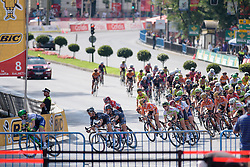 The peloton chasing down the escapees at Madrid Challenge by La Vuelta an 87km road race in Madrid, Spain on 11th September 2016.