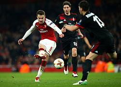 Aaron Ramsey of Arsenal shoots at goal - Mandatory by-line: Robbie Stephenson/JMP - 15/03/2018 - FOOTBALL - Emirates Stadium - London, England - Arsenal v AC Milan - UEFA Europa League Round of 16, Second leg