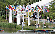 Poznan, POLAND. General view of the course, Flags , 2015 FISA European Rowing Championships. Venue, Lake Malta. Friday 29.05.2015. [Mandatory Credit: Peter Spurrier/Intersport Images]