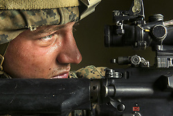 Apr 13, 2017 - Camp Pendleton, California, United States - Security Stare.  A Marine provides security during a simulated amphibious assault on Red Beach at Camp Pendleton, Calif., April 13, 2017. The Marine is assigned to Battalion Landing Team 1st Battalion, 5th Marine Regiment, 15th Marine Expeditionary Unit. Marine Corps photo by Cpl. Frank Cordoba. (Credit Image: ? Cpl. Frank Cordoba/DoD via ZUMA Wire/ZUMAPRESS.com)