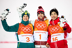 February 12, 2018 - Pyeongchang, SOUTH KOREA - 180212  Matt Graham of Australia, Silver, Mikael Kingsbury of Canada, Gold, and Daichi Hara of Japan, Bronze,  celebrates after the men's moguls final during day three of the 2018 Winter Olympics on February 12, 2018 in Pyeongchang..Photo: Carl Sandin / BILDBYRÃ…N / kod CS / 57999_286 (Credit Image: © Carl Sandin/Bildbyran via ZUMA Press)