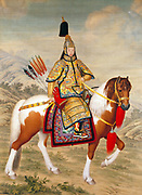 The Qianlong Emperor in Ceremonial Armour on Horseback' 1739 or 1758. Ink and colour on silk. Giuseppe Castiglione (1688-1766) Italian Jesuit, court painter in China. Fifth emperor of the Manchu-led Qing Dynasty 1736-1795.
