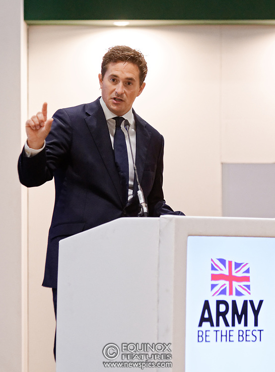 London, United Kingdom - 12 September 2019<br /> Johnny Mercer MP, Parliamentary Under-Secretary of State for Defence People and Veterans for the UK Government gives a keynote address speech and answers questions from the audience at DSEI 2019 security, defence and arms fair at ExCeL London exhibition centre.<br /> (photo by: EQUINOXFEATURES.COM)<br /> Picture Data:<br /> Photographer: Equinox Features<br /> Copyright: ©2019 Equinox Licensing Ltd. +443700 780000<br /> Contact: Equinox Features<br /> Date Taken: 20190912<br /> Time Taken: 10195875<br /> www.newspics.com