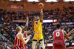 Feb 2, 2019; Morgantown, WV, USA; West Virginia Mountaineers forward Derek Culver (1) shoots during the second half against the Oklahoma Sooners at WVU Coliseum. Mandatory Credit: Ben Queen-USA TODAY Sports
