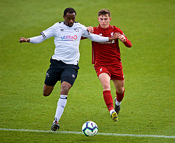 DERBY, ENGLAND - Friday, March 8, 2019: Liverpool's Ben Woodburn (R) and Derby County's Efe Ambrose during the FA Premier League 2 Division 1 match between Derby County FC Under-23's and Liverpool FC Under-23's at the Derby County FC Training Centre. (Pic by David Rawcliffe/Propaganda)